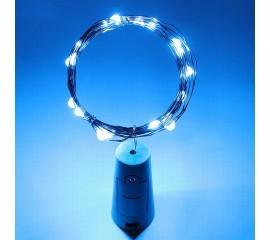 LED нить с пробкой - голубой 20 светодиодов, с батарейками