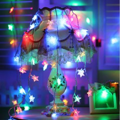 """Світлодіодна гірлянда """"Зірочки"""", 50 ламп, 5 м, кольорова, на батарейках"""