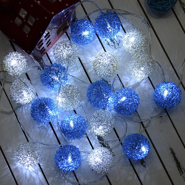 "LED гирлянда ""Шарики ажурные"" серебро+голубой 20 ламп 3 м"