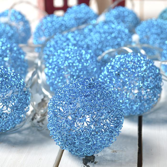 """LED гирлянда """"Шарики ажурные"""" голубая 20 ламп 3 м"""