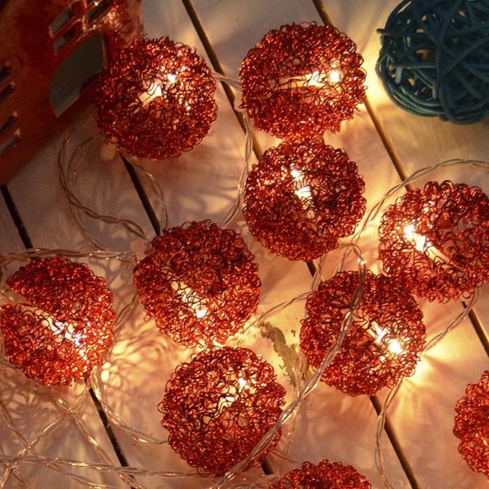 """LED гирлянда """"Шарики ажурные"""" красная 10 ламп 1,5 м"""