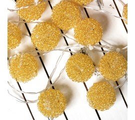 "LED гирлянда ""Шарики ажурные"" золото 10 ламп 1,5 м"