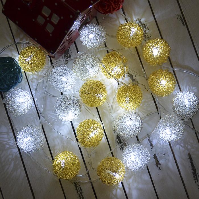 "LED гирлянда ""Шарики ажурные"" серебро+золото 20 ламп 3 м"