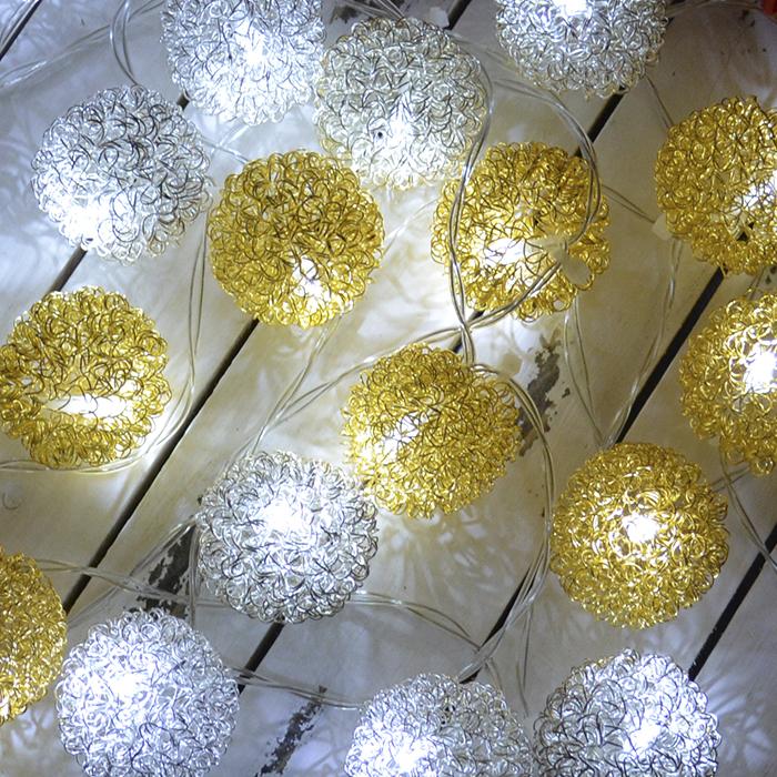 "LED гирлянда ""Шарики ажурные"" серебро+золото 10 ламп 1,5 м"