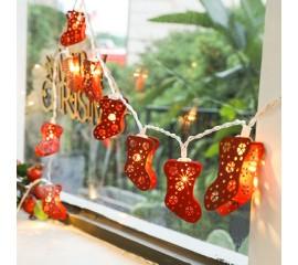 """Гирлянда """"Рождественские сапожки красные"""", 20 led, 3 м, на батарейках"""