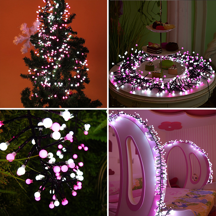 "Гирлянда ""Фейерверк"" бело-розовый 150 ламп 3 м"