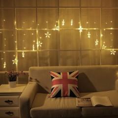 "Безопасная LED штора ""Объемные звезды"" 31V, теплый белый,  1,8 х 0,9 м. 8 режимов"