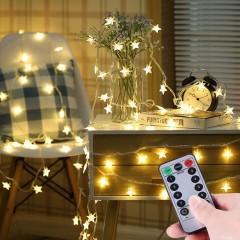"""Світлодіодна гірлянда """"Зірочки"""", з пультом ДК, 50 ламп, 5 м., теплий білий, на батарейках"""