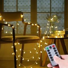 """Світлодіодна гірлянда """"Матові кульки"""", пульт ДК, 50 ламп, 5 м, на батарейках, теплий білий"""