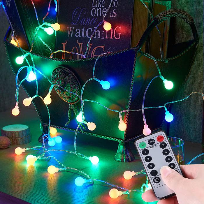 "Led гирлянда ""Матовые шарики"" USB, пульт д/у, 50 ламп 5 м цветная"