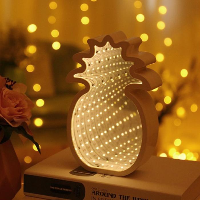 """Зеркальный 3D ночник """"Ананас"""" с магическим туннельным светом"""