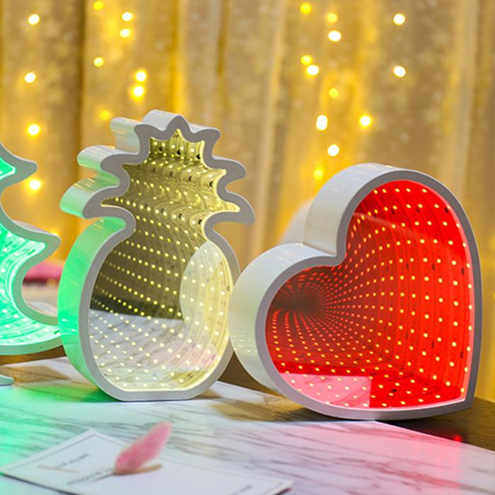 """Зеркальный 3D ночник """"Сердце"""" с магическим туннельным светом"""