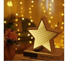 """Зеркальный 3D ночник """"Звезда"""" с магическим туннельным светом"""