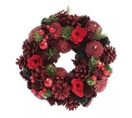 Венок новогодний с шишками и ягодами 25 см