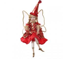 """Новогодняя кукла """"Фея в красном платье"""" 40 см"""