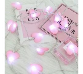 """LED гирлянда """"Розовые сердечки"""" 50 ламп, 5 м"""