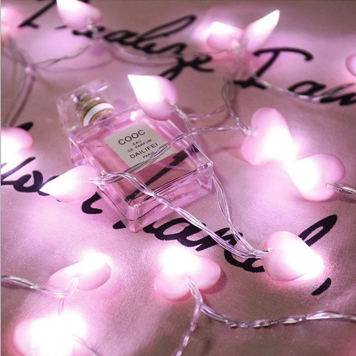 """LED гирлянда """"Розовые сердечки"""" 100 ламп, 10 м"""