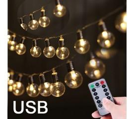 "Гирлянда ""Мини лампочки"" 80 ламп 10 м с пультом д/у USB"