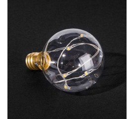 Лампа G40 с LED нитями, теплый-белый