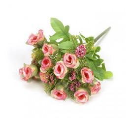 Букетик мини розочки с добавкой - розовые