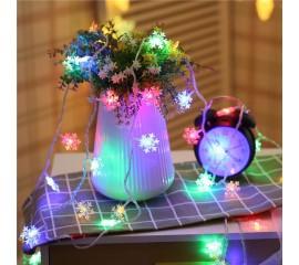 """Гирлянда """"Снежинки"""", 10 светодиодов, 1,5 м, цветная, на батарейках"""
