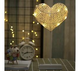 LED сердце-ротанг на подставке 40см