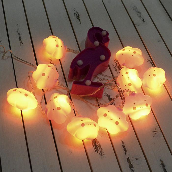 "Led гирлянда ""Облачка розовые"" 10 ламп 1,5 м"