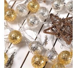 """Led гирлянда """"Марокканские шарики"""" серебро+ золото 10 ламп 1,5 м"""