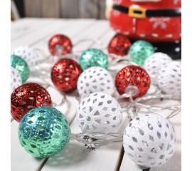 """Led гирлянда """"Марокканские шарики"""" зеленый+белый+красный 30 ламп 3 м"""