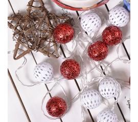 """Led гирлянда """"Марокканские шарики"""" бело-красные 10 ламп 1,5 м"""