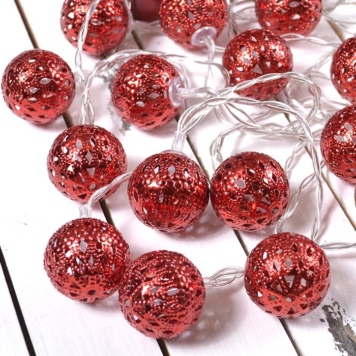 """Led гирлянда """"Марокканские шарики"""" - красные 10 ламп 1,5 м"""