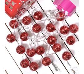 """Led гирлянда """"Марокканские шарики"""" - красные 20 ламп 3 м"""