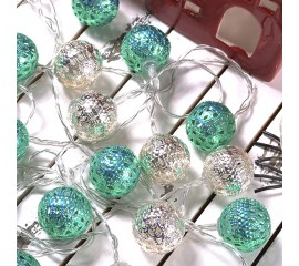 """Led гирлянда """"Марокканские шарики"""" - серебро+зеленая 10 ламп 1,5 м"""