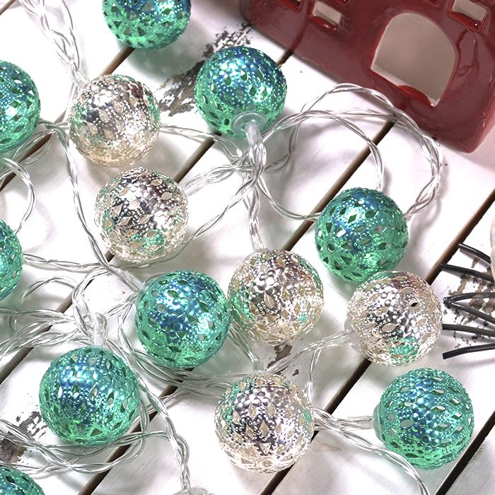 """Led гірлянда """"Марокканські кульки"""" - срібло + зелена 10 ламп 1,5 м"""