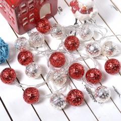 """Led гирлянда """"Марокканские шарики"""" - серебро+красные 20 ламп 3 м"""