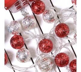 """Led гирлянда """"Марокканские шарики"""" - серебро+красный 10 ламп 1,5 м"""