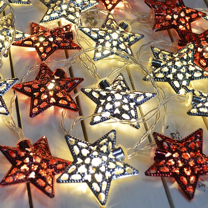 """Led гирлянда """"Металлические звезды"""" 10 ламп 1,5 м - красные+серебро"""