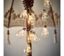Гирлянда лампочки с серебряным цоколем, с LED нитями 10 ламп 4 м