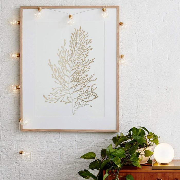 Гирлянда лампочки с золотым цоколем, с LED нитями 10 ламп 4 м