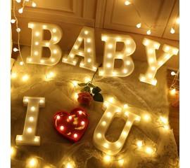 """Светодиодный декор """"I Love U BABY"""" с сердечком"""