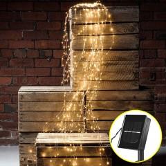 Свисающие led нити на солнечных батареях 200 led, 10 линий по 2м, 8 режимов свечения, теплый белый