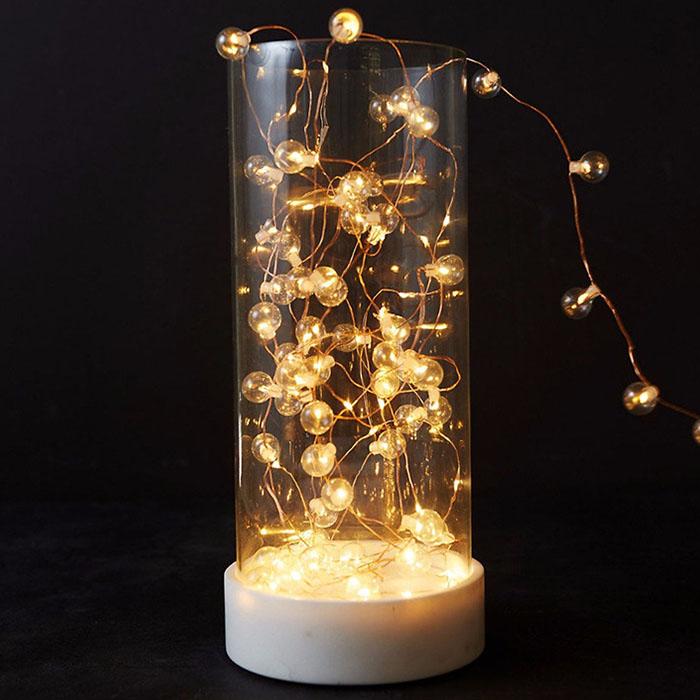 LED нить со стеклянными шариками 50 светодиодов, 5 м. теплый белый