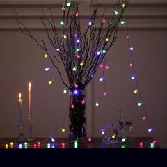 """Світлодіодна гірлянда """"Матові кульки"""", 50 ламп, 5 м, кольорова, на батарейках"""