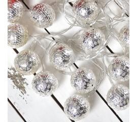 """Led гирлянда """"Марокканские шарики"""" - серебро 10 ламп 1,5 м"""