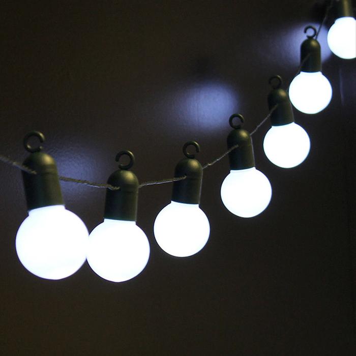 Гирлянда с лампочками 20 л., 6,5 м. белые, USB