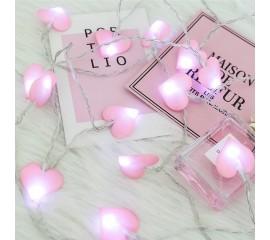"""LED гирлянда """"Розовые сердечки"""" 20 ламп 3 м"""