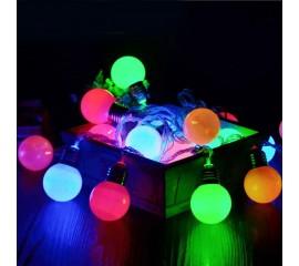"""Led гирлянда """"Лампочки матовые 4,5 см"""" 10 ламп 1,5 м цветная"""
