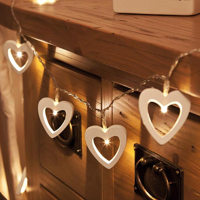 "Led гирлянда ""Деревянные сердца"" 10 ламп 1,5м"