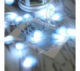 """LED гирлянда """"Сердечки голубые"""" 20 ламп 3 м"""