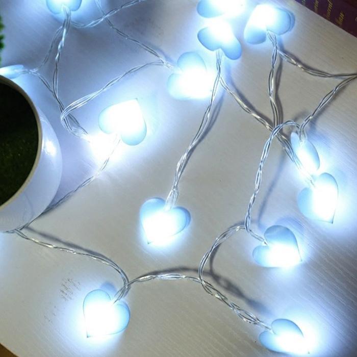 """LED гирлянда """"Сердечки голубые"""" 10 ламп 1,5 м"""